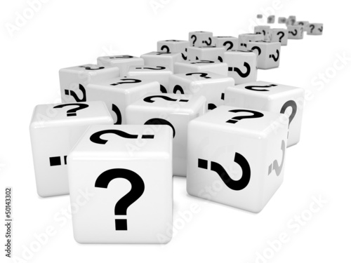 Cubes with question marks to horizon