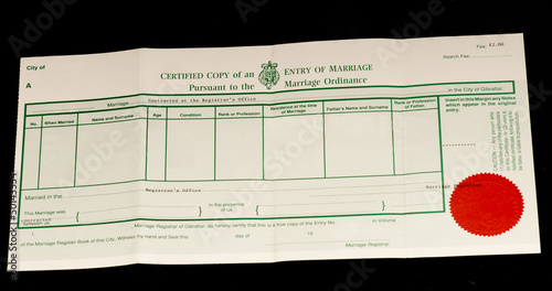 British marriage certificate