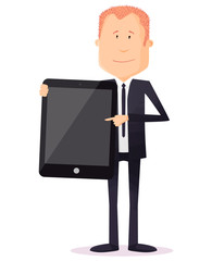 homme d'affaires montrer tablette
