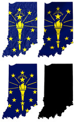 US Indiana state flag over map collage