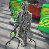 """character from coins"" in  biofuel gas station 3d illustration"