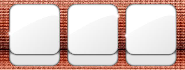 Cornice per tre immagini,icone,pulsanti