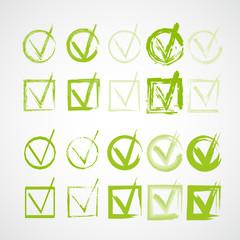 Set of hand-drawn check marks, grunge checkmarks