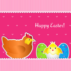 Easter card with chicken, chick and two eggs