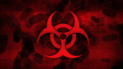Biohazard symbol and bacteria on damaged red display