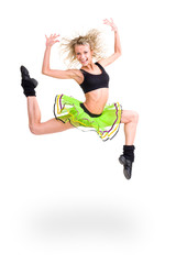 fitness woman jumping of joy