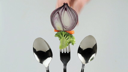 verduras en tenedor one