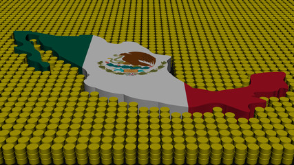 Mexico map flag with oil barrels illustration