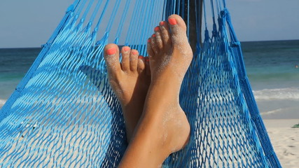 Feet up in a hammock. Tulum, Mexico.