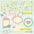 Scrapbook elements. Cute seamless patterns included.