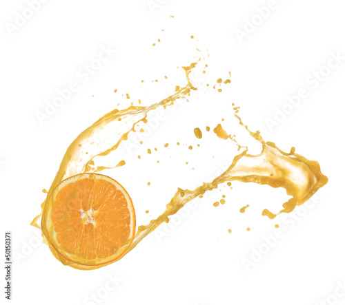Orange slice in juice splash, isolated on white background