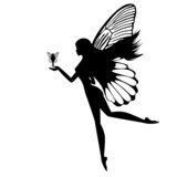 Fototapety Silhouette of a fairy isolated on white background