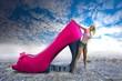 Frau mit Schuh - Fotomontage