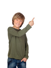 Adorable child pointing something