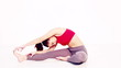 Healthy smiling woman in yoga exercise