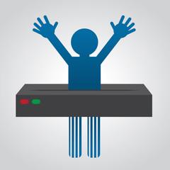 Figure going through paper shredder