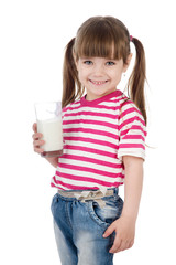 Portrait of a little girl holding a glass of milk. isolated