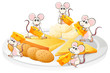 Five mice with cheese and biscuits