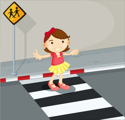 A girl in the pedestrian lane