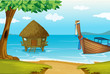 A beach with a cottage and a wooden boat