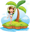 A girl wearing a bikini with a hat in front of a coconut tree