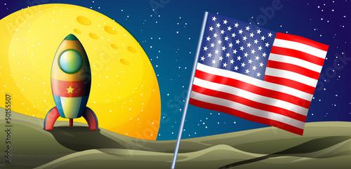 A spaceship landing with a USA flag