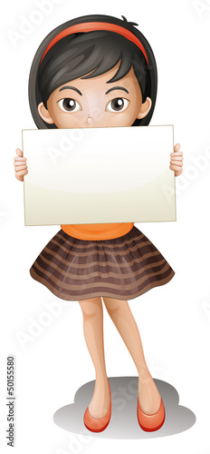 A girl holding an empty piece of paper