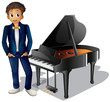 A boy beside the piano