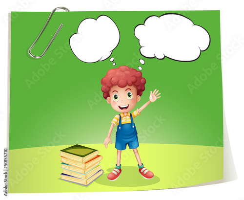 A boy near a pile of books with empty callouts