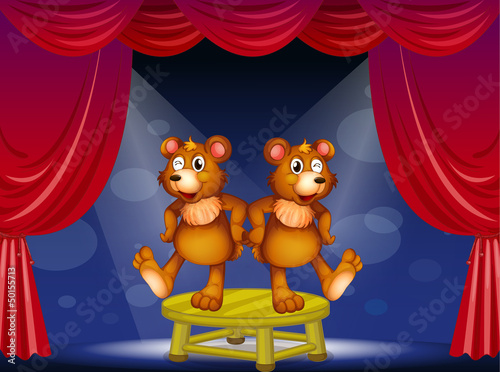 Aluminium Beren Two bears above the table performing at the stage