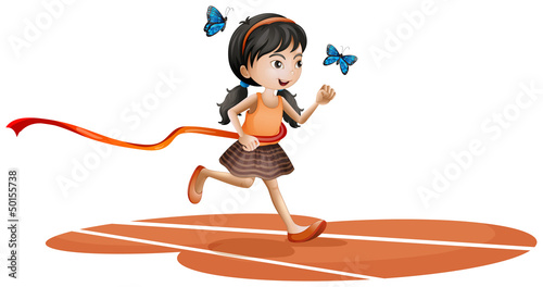 Foto op Aluminium Vlinders A girl running with two blue butterflies