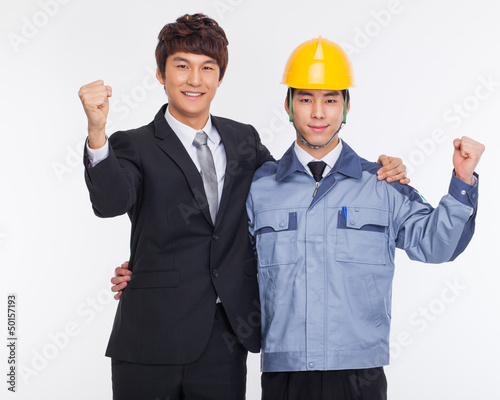 Asian business man and engineer hands up.