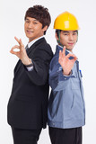 Asian business man and engineer show okay signs.