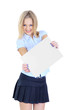 Schoolgirl holding a white sheet of paper isolated on white
