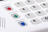 Home security alarm keypad with emergency buttons