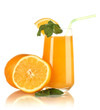 Glass of orange juice with mint and orange isolated on white