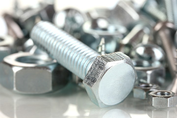 Bolts, screws, nuts close up