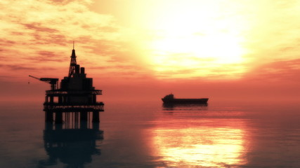 Oil Platform and Tanker in the Sunset