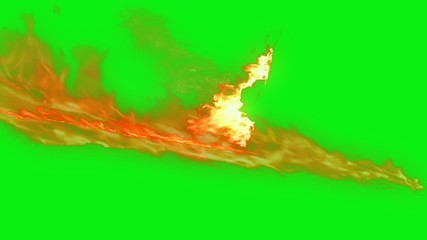 fire path with Fire word with green screen