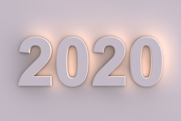 2020 New Year in illuminated 3d numbers