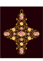 floral gold cross