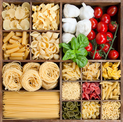 Assorted pastas in wooden box