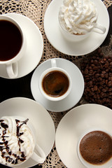 Assortment of different hot coffee drinks close up