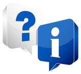 Speech Bubbles Question & Information White/Blue