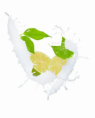 Fresh lime in chocolate and mill splash over white background