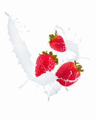 Strawberry in chocolate and mill splash over white background