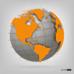 3d globe of the world. EPS10 vector illustration.