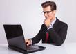 business man working at laptop