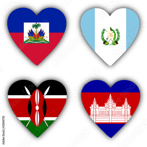Flags in the shape of a heart, coutries