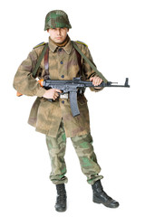 soldier with submachine gun isolated on white background